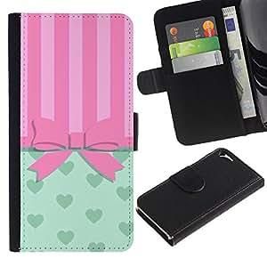 A-type (Bowtie Bow Pink Hearts Lines) Colorida Impresión Funda Cuero Monedero Caja Bolsa Cubierta Caja Piel Card Slots Para Apple iPhone 5 / iPhone 5S