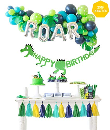 Dinosaur Party Decorations Balloons Garland Kit with ROAR Foil Balloon and Little Dino Happy Birthday Banner for Boys 3 4 Birthday Party Baby Shower -
