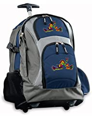 Peace Frogs Rolling Backpack Deluxe Navy Super Cool Backpacks Bags with Wheels
