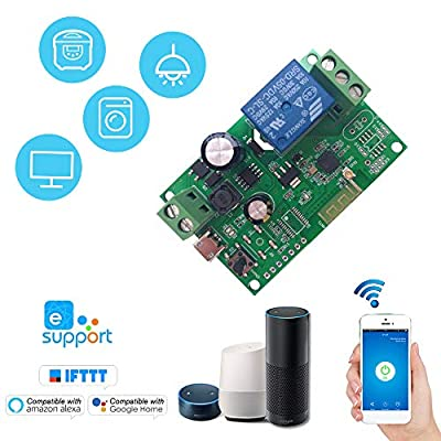 eWeLink DC5V 12V 24V 32V WiFi Switch Wireless Relay Module Smart Home Automation Modules Phone APP Remote Control Timer Switch Compatible with Amazon Alexa Google Home Voice Control for Access