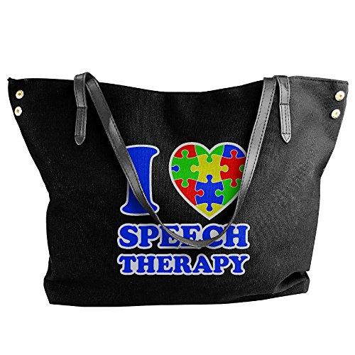 Speech Messenger Tote Shoulder Love Autism Large Black Therapy Bags I Women's Canvas Handbag qx8wvSv