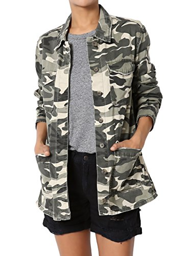 TheMogan Women's Camouflage Cotton Twill Anorak Utility Jacket Army Green (Camo Utility Jacket)