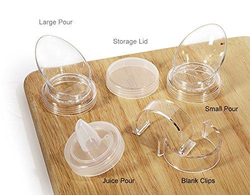 G.E.T. Enterprises Clips-Plain-PC-CL Clear Set of 8 Plain Salad Dressing Bottle Clips, Polycarbonate (Pack of 8)