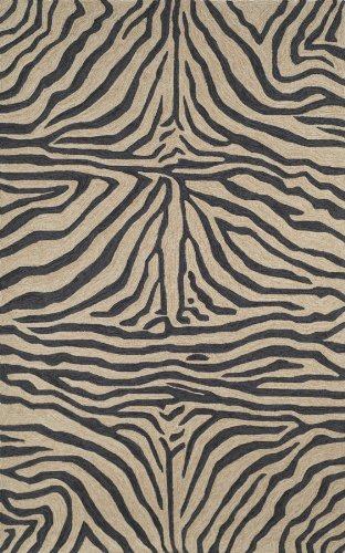 Liora Manne Ravella Zebra Rug, Indoor/Outdoor, 24-Inch by 36-Inch, Black (Rugs Print Animal Outdoor)