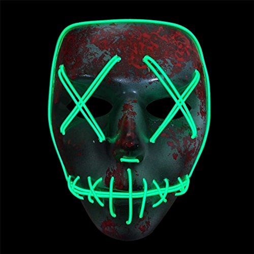 Blingflower LED Light Up Flashing Mask Skeleton Shaped Halloween Rave Party Favor Skull Mask Without Battery by Blingflower