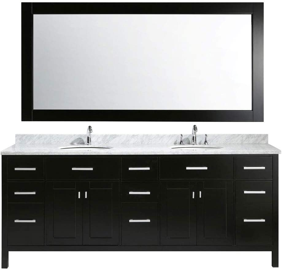 Luca Kitchen Bath LC84CEW Geneva 84 Double Vanity Set in Espresso with Carrara Marble Top, Sink, and Mirror, Eppresso