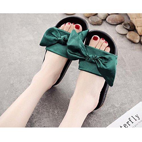 cn39 Summer Bottom Mode De Sandales Xy® Bow Air uk6 Beach Green Pantoufles Flat En Green Taille Femelle Plein Eu39 couleur Shoes Hqzwf