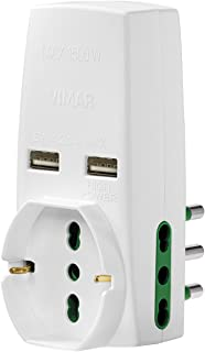 Vimar 0P00333.B Adattatore Universale, S17, 2P17/11, Due USB, Bianco VIMAR SPA