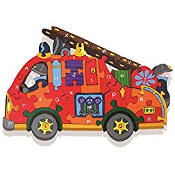 Alphabet Jigsaws Handcrafted Traditional Wooden Puzzle: Alphabet Fire Engine