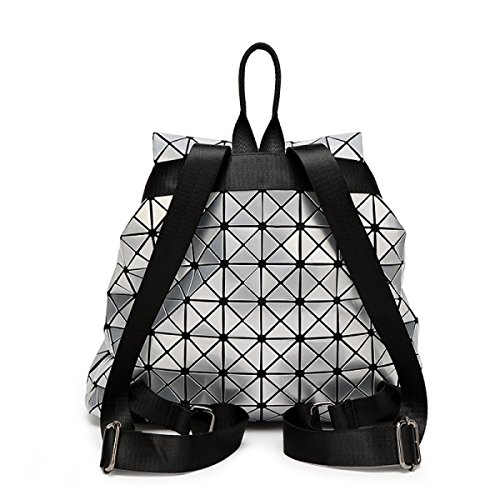 Backpack Travel Large Folding Ling Leather Cube Ms Backpack Rubik's Laser Geometry Handbags Ge Japanese Black Patent tqw8UzOx