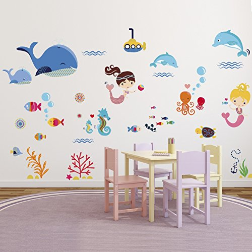 Mermaids Decorative Peel U0026 Stick Wall Art Sticker Decals For Kids Room Or  Nursery