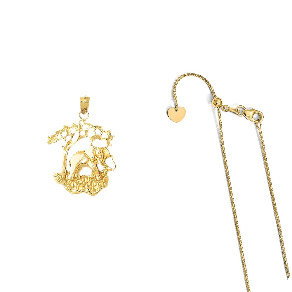 14K Yellow Gold Elephant Pendant on an Adjustable 14K Yellow Gold Chain Necklace
