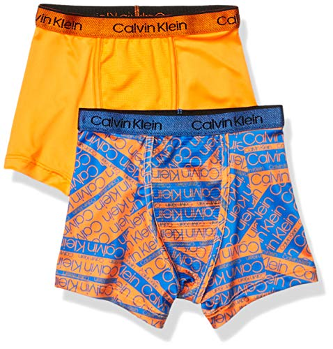 Calvin Klein Little Boys' Kids Performance Boxer Brief Underwear, Multipack, 2 Pack - CK Fragment Print Blue, Oriole Orange, XS ()