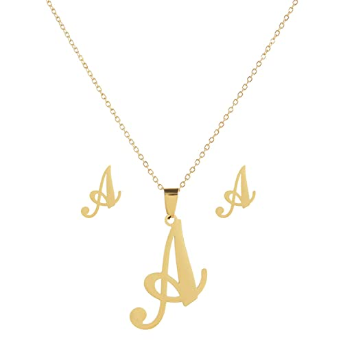 Pendant Women Gold Color Earrings Stainless Steel Necklace Jewelry Set