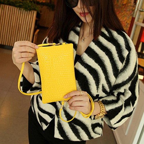 Girl Casual Vintage Mini Purse Bag Handbag Patten Leather Zipper Lady Soild Women Hand Yellow Bags PU Lenfesh Crocodile Shoulder xq64wHX