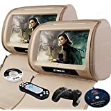 XTRONS® Beige 2*9 HD Touch Screen Car Headrest DVD Player Twin Pillow Monitor Mp3 Hd908t