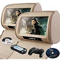 XTRONS® Beige 2*9 HD Touch Screen Car Headrest DVD Player Twin Pillow Monitor Mp3 Hd908t