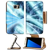 Luxlady Premium Samsung Galaxy S7 Edge Flip Pu Leather Wallet Case IMAGE 19863052 Digital abstract shapes glowing in blue tones