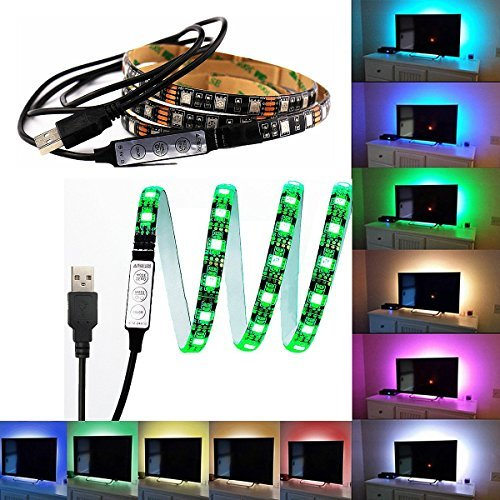 USB Powered - 3.3Ft 60LEDs with Mini Controller Flexible Waterproof RGB for TV/PC/Laptop/Background Lighting ()