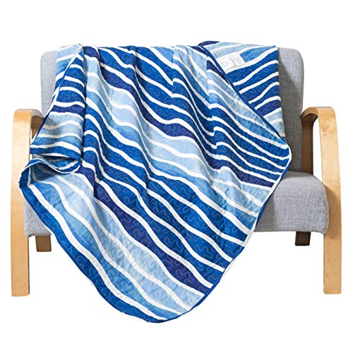 SLPR Blue Wave Printed Quilted Throw Blanket (50