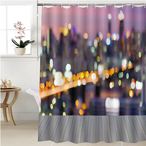 Gzhihine Shower curtain opening wooden floor blurred motion of city traffic lights bokeh at busy hours Bathroom Accessories 48 x 72 - Ocean City Hours Outlets