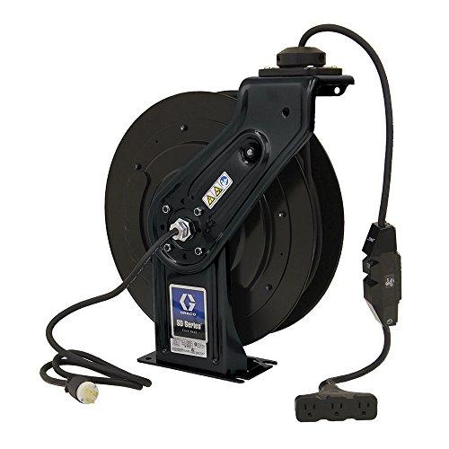 Graco 24Y864 SD Series 120 Volt Cord Reel Size 5 Tri-Plug GFCI Industrial Receptacle, 50', Black