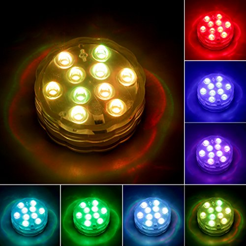 Amazon.com : STARmoon Submersible LED Lights Remote Control Underwater Battery Operated Light, 10-LED Waterproof MultiColor Reusable Lights for Aquarium ...