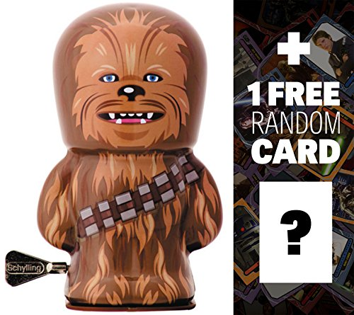 "Chewbacca: ~4"" BeBots x Star Wars Tin Wind-Up Figure + 1 FREE Official Star Wars Trading Card Bundle"