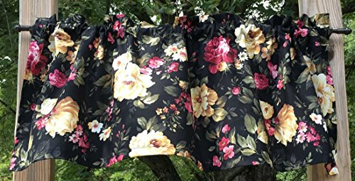 Pink Cottage Rose Handmade Valance Cream Peony Floral Flowers Handcrafted Black Curtain Valance NEW t1/39 ()
