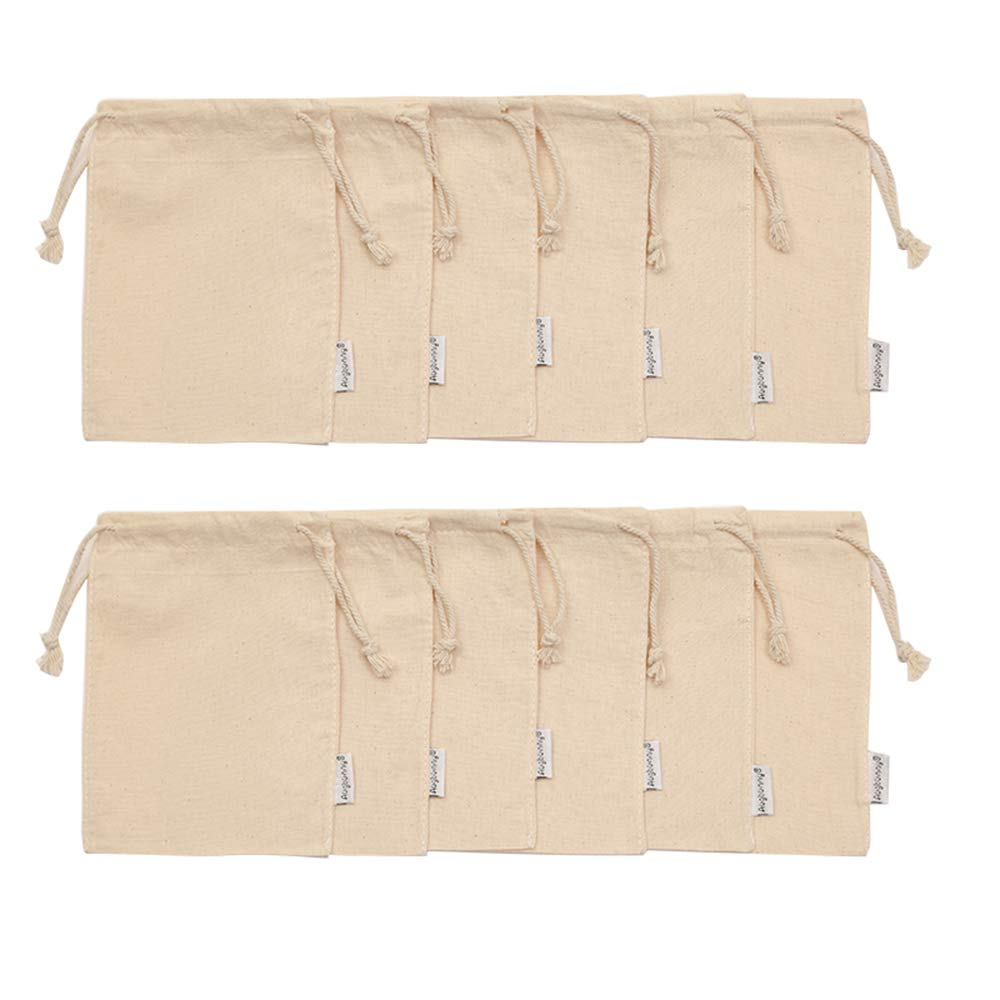 Augbunny 100% Cotton 5- by 7-Inch Muslin Bags with Drawstring, 12-Pack by Augbunny (Image #2)