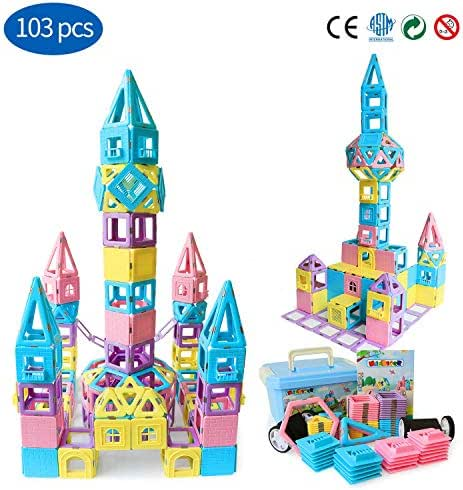 Magnetic Building Blocks STEM Educational Toys Tiles Set for Boys & Girls丨Magnet Stacking Block Sets for Kid's Basic Skills Learning & Development Toys-Great Gifts 103PCS