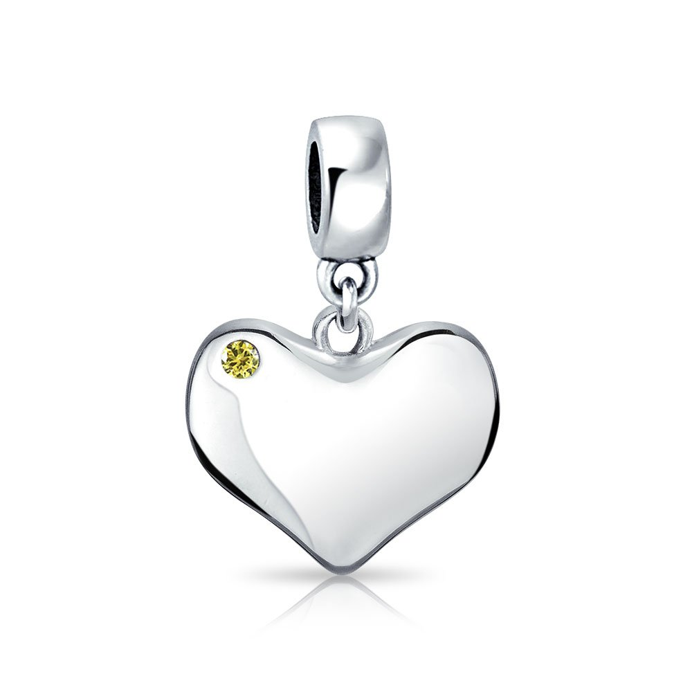 Bling Jewelry Simulated Citrine Crystal Heart Shaped Dangle Bead Charm .925 Sterling Silver PBX-HSD-287-CT-D