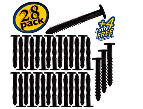 Window Shutters Panel Peg Lok Pin Screws Spikes 3 inch 32 Pack Fasteners (Black) Exterior Vinyl Shutter Hardware Strongest Made in ()