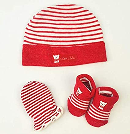 Saftybay Knit Baby Hat Cap+ Socks + Gloves Gift Set for 0-6 Months Old New Baby Newborn (Red)