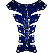 Blue Diamondplate Rivet Rip Motorcycle sportbike Tank Pad Protector guard gel decal
