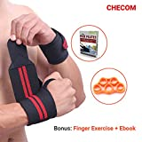CHECOM Wrist Wraps and Finger Exercise Trainer Set - 19.7'' Professional Grade with Hook and Thumb Loop - Wrist Support Straps For Weight Lifting, CrossFit, Powerlifting, Strength Training.