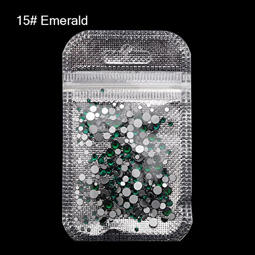 Emerald Mix (MIOBLET 300 Piece Mix Size SS3-SS20 Crystal Nail Rhinestones Top Grade Emerald Nail Gems Flatback Non Hotfix Glitter 3D Nail Art Gems Stones DIY Nails Decorations Manicure Accessories)