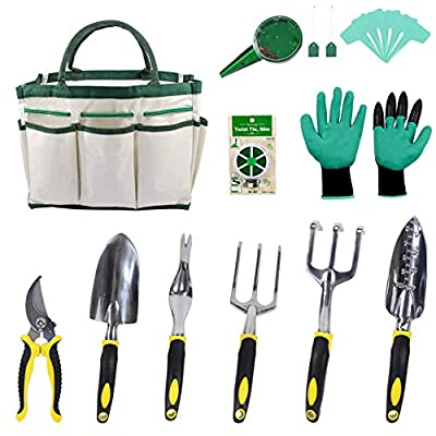 Croch Garden Tools Set - 12 Piece Gardening Gifts Tool Kit for Women & Men with 6 Hand Tools, Garden Storage Tote, Garden Gloves,Seeds Bag,Plant Labels,Garden Tie and Seeder Tool