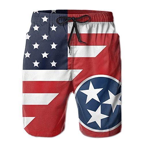 TE-REX Mens America Tennessee State Flag Summer Quick-drying Swim Trunks Beach Shorts Cargo ()