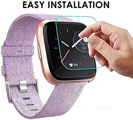 [3 Pack] Screen Protector Compatible with Versa/Versa Lite Edition Smartwatch, Waterproof Tempered Glass Screen Protector