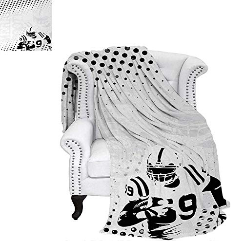 Custom Design Cozy Flannel Blanket American Football Character Running Passing Gridiron Goal Dotted Art Graphic Design Lightweight Blanket 60