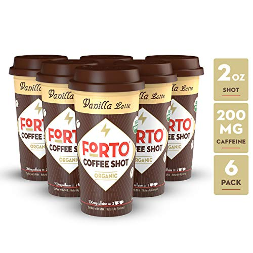 FORTO Coffee Shots - 200mg Caffeine, Vanilla Latte, Ready-to-Drink on the go, Cold Brew Coffee Shot - Fast Coffee Energy Boost, Pack of 6