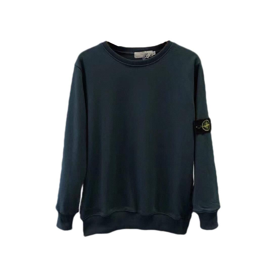 Zimaes-Men Crew-Neck Pullover Long-Sleeve Basic Solid Color Sweatshirt