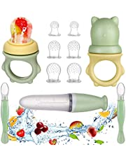 Lictin Fruitzuiger baby + 6 siliconen zuigers in 3 maten + 2-weg baby veiligheidslepel - BPA-vrij - kleine kinderen fruitzuiger fopspeen bijtring fruitzuiger voor groente fruit pap bijvoeding (11 stuks)