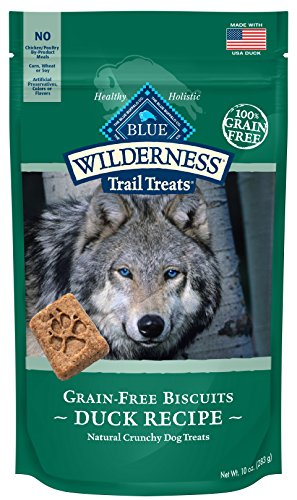 BLUE Wilderness Grain-Free Duck Biscuits Trail Dog Treats, 10 oz (6 Pack) -