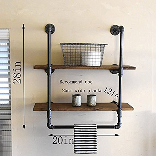Industrial Retro Wall Mount iron Pipe Shelf,Bathroom Wall Unit,2 tier Pipe shelves and Towel Holder,Floating Shelves,Bathroom Decor,Towel Storage, Towel rack 20'' wide