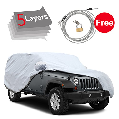 KAKIT Jeep Car Cover for Jeep Wrangler 4 Door 2007-2018,5 Layers, Waterproof Windproof for Outdoor, Rain, Snow, Sun UV Weather Prevention, Windproof Ribbon & Anti-theft Lock