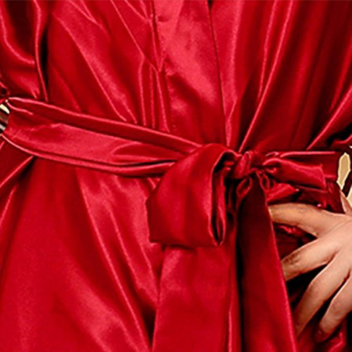 SUNBABY Women Silk Satin Nightgown Short Kimono Robe Sexy Sleepwear Fashion Dressing Gown Big Size (Red) by SUNBABY (Image #6)
