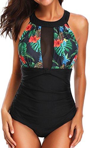 Maglia Foglie Costume Sexy Intero Verdi Monokini OLIPHEE Donna Bikini Beachwear 014vqwq