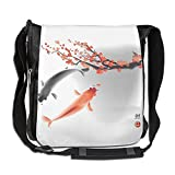 Lovebbag Koi Carps Couple Swimming With Cherry Blossom Sakura Branch Culture Design Crossbody Messenger Bag